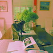 The Cat And The Hydrangea Art Print
