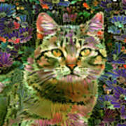 The Cat Who Loved Flowers 1 Art Print