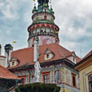 The Cesky Krumlov Castle Tower With A Fountain Below Within The Czech Republic Art Print