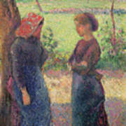 The Chat Art Print by Camille Pissarro
