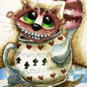 The Cheshire Cat - In A Teapot Art Print