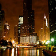 The Chicago River At Night Art Print