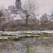 The Church At Vetheuil Under Snow Art Print by Claude Monet