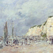 The Cliffs At Dieppe And The Petit Paris Art Print by Eugene Louis Boudin