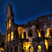 The Coleseum In Rome At Night Art Print by David Smith