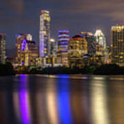 The Colorful Neon Lights On The Austin Skyline Shine Bright Art Print