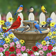 The Colors Of Spring - Bird Fountain In Flower Garden Art Print