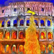 The Colosseum And Christmas  - Van Gogh Style -  - Da Art Print