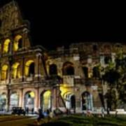 The Colosseum In Rome At Night Art Print