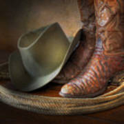 The Cowboy Boots, Hat And Lasso Art Print