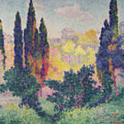The Cypresses At Cagnes Art Print by Henri-Edmond Cross
