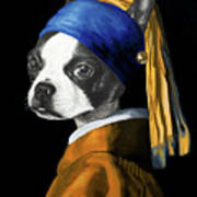 The Dog With A Pearl Earring Art Print
