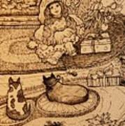 The Doll, The Kitties And The Gingerbread Boy Art Print