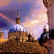 The Domes Of Immaculate Conception, Cuenca, Ecuador Art Print