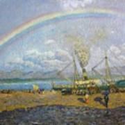 The Downpour. Santona Bay By Dario De Regoyos, 1900. Art Print