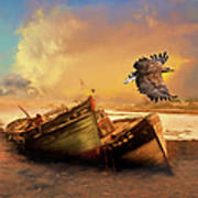The Eagle And The Boat Art Print