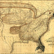 The Eagle Map Of The United States  Art Print