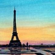 The Eiffel Tower At Sunset Art Print