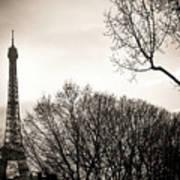 The Eiffel Tower In Backlighting. Paris. France. Europe. Art Print