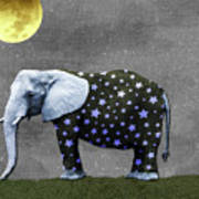 The Elephant And The Moon Art Print
