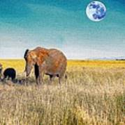 The Elephant Herd Art Print