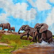 The Elephants Rise Art Print