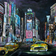 The Evening Of Time Square Art Print
