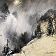 The Falling Flakes Mountain Scene. Yosemite A Mountain Snowfall Art Print