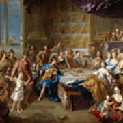 The Feast Of Dido And Aeneas. An Allegorical Portrait Of The Family Of The Duc And Duchesse Du Maine Art Print