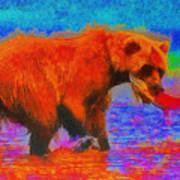 The Fishing Bear - Da Art Print