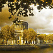 The Four Courts In Reconstruction Sepia Art Print
