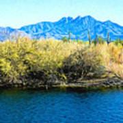 The Four Peaks From Saguaro Lake Art Print