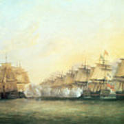 The Fourth Action Off Trincomalee Between The English And The French Art Print
