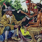 The French In Canada, Trading For Fur With The Native People Art Print