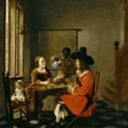 The Game Of Cards Print by Hendrik van der Burch