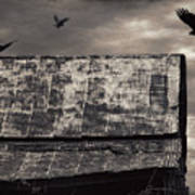 The Gathering - Vultures Above An Old Barn Art Print