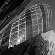 The Gherkin Black And White Art Print