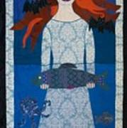 The Girl With Bats And Fish Art Print