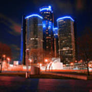 The Gm Renaissance Center At Night From Hart Plaza Detroit Michigan Art Print