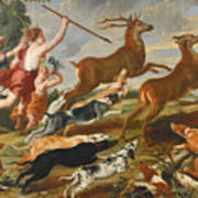 The Goddess Diana And Her Nymphs Hunting Deer Art Print