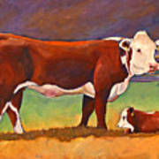 The Good Mom Folk Art Hereford Cow And Calf Art Print