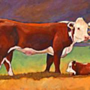 The Good Mom Folk Art Hereford Cow And Calf Art Print