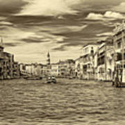 The Grand Canal - Paint Sepia Art Print