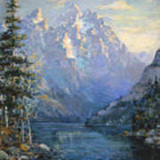 The Grand Tetons And Jenny Lake Art Print by Lewis A Ramsey