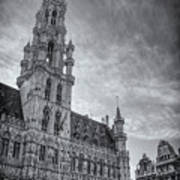 The Grandeur Of The Grand Place Brussels In Black And White  Art Print