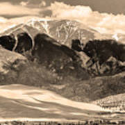 The Great Colorado Sand Dunes In Sepia Art Print