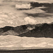 The Great Sand Dunes Panorama 2 Sepia Art Print