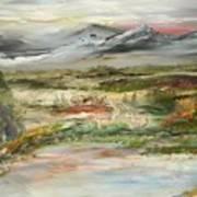 The Green Field Pond Art Print