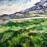 The Green Wheatfield Behind The Asylum Art Print by Vincent van Gogh