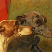 The Greyhounds Charley And Jimmy In An Interior Art Print